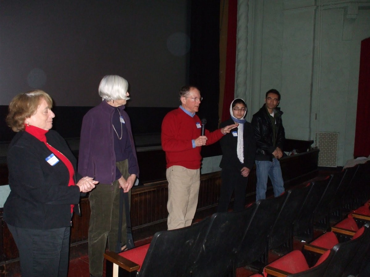 John Flynn leads a discussion at the screening of Once in Afghanistan