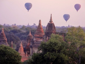 Sunrise with balloons in Bagan