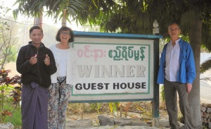 Mirella & I with guest house manager as we depart Bagan